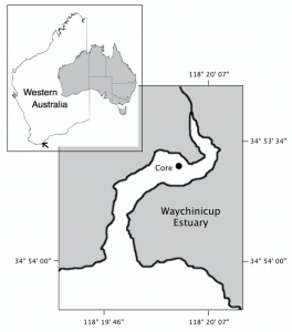 Figure 1. Location of the study site, Waychinicup Estuary, Western Australia and location of the coring point in the Posidonia australis meadow.